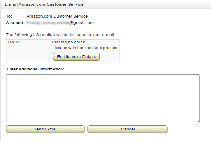 Amazon's customer service e-mail form